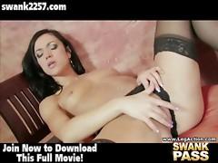 See Alyssa Reece slip a vibrator in her wet hole.