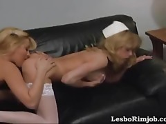 Two blondes tongue each other's booties and finger to a wild orgasm