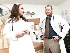 Naughty nurse Kristina Rose checks out a doctor's dick